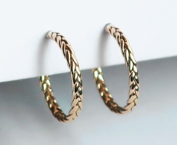 Thin Braid Hoop Earrings