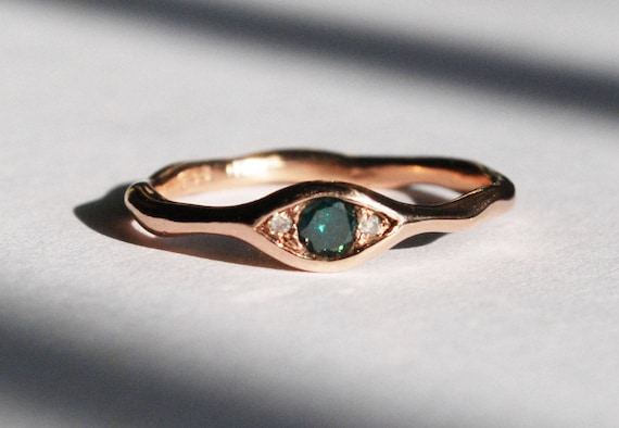 10k Rose Gold, Faceted Blue-Green Diamond & White Diamond Eye Ring-Ready to Ship!