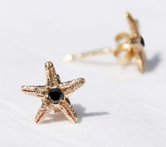 Solid Gold & Black Diamond Tiny Starfish Earrings
