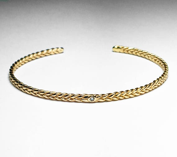 14k Yellow Gold and Tiny Diamond Thin Braid Stacking Bracelet