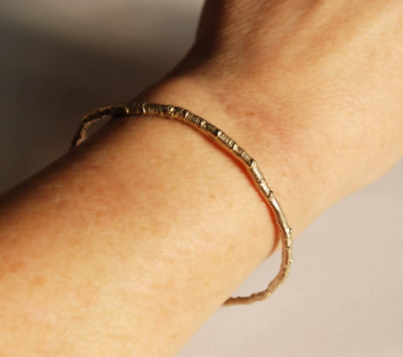 McCarren Park Solid Gold Twig Bangle Bracelet