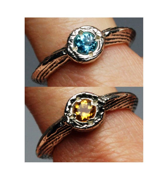 Double Sided Citrine and Blue Topaz Lucky Charm Ring, Size 6-Ready to Ship.
