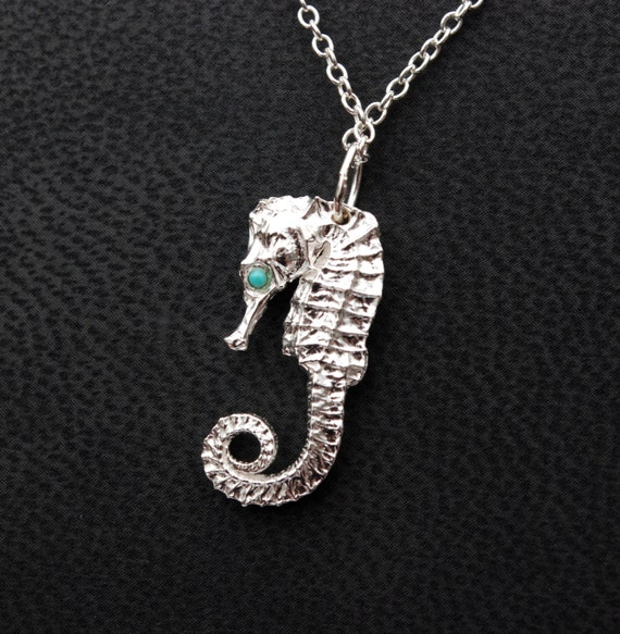 Sterling Silver Seahorse with Turquoise eyes on thin Silver chain