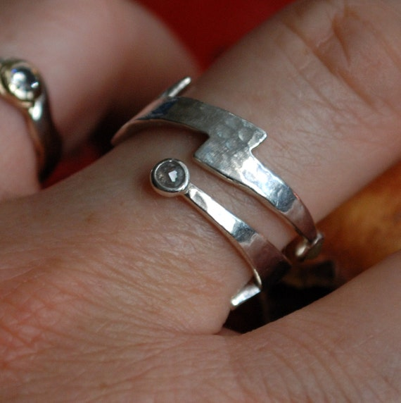 Silver Diamond Lightning Bolt  Wrap Ring