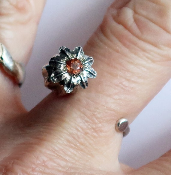 Silver and Orangey Pink Tourmaline Poppy Statement Ring-One of a Kind-Ready to Ship
