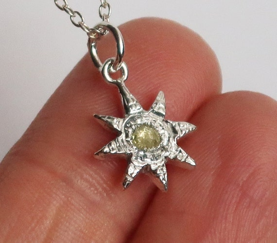 Sterling Silver and Pale Yellow Rose Cut Diamond Celestial Necklace-Ready to Ship