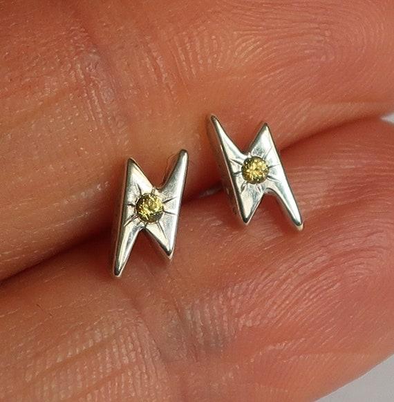 Sterling Silver & Yellow Sapphire Lightning Bolt Stud Earrings
