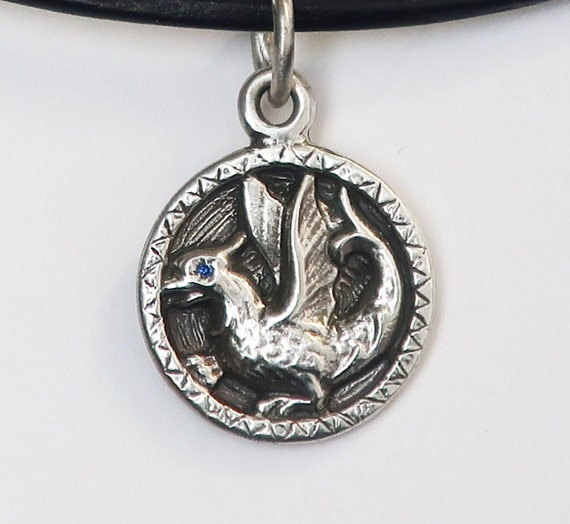 Sterling Silver & Genuine Blue Sapphire Baby Dragon Necklace-Ready to Ship
