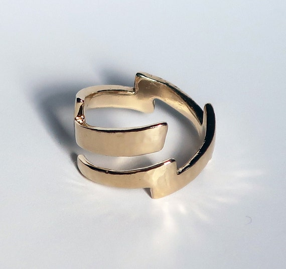 14k Gold Lightning Bolt Ring-Ready to Ship