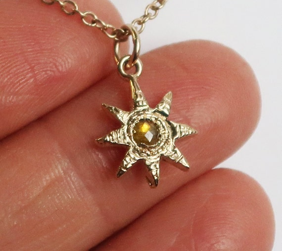 Gold and Yellow Rose Cut Diamond Celestial Charm Necklace