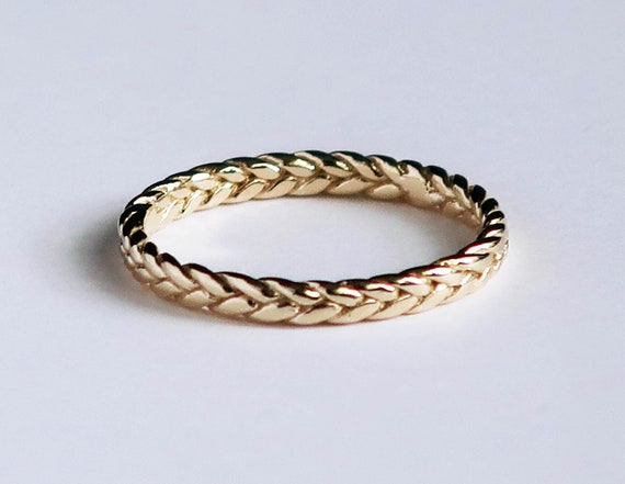 Solid 10k Yellow Gold Thin Braid Ring, US Size 6 Sample, Ready to Ship