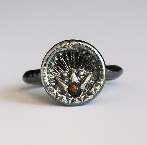 Black Sterling Silver and Black Opal Ouroboros Snake, Antique Parisian Button Ring- US size 6.75- Ready to Ship