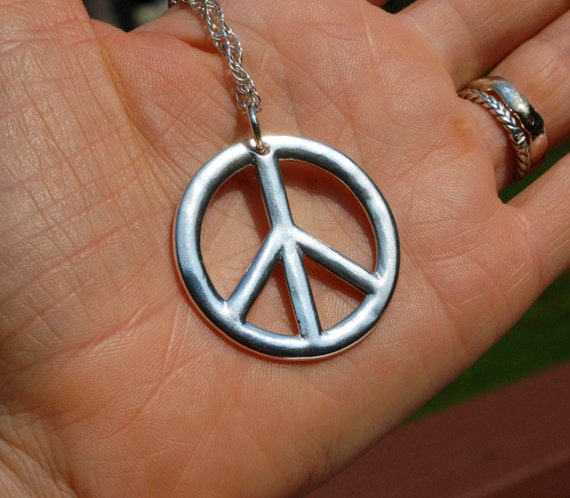 Large Sterling Silver Peace Sign