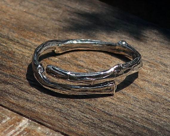 Tompkins Square Park Twig Ring -open wrap-Oxidized or White Sterling Silver