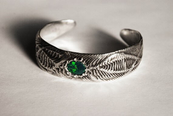 Opal and Solid Sterling Silver Dragon Cuff Bracelet-Ready to Ship