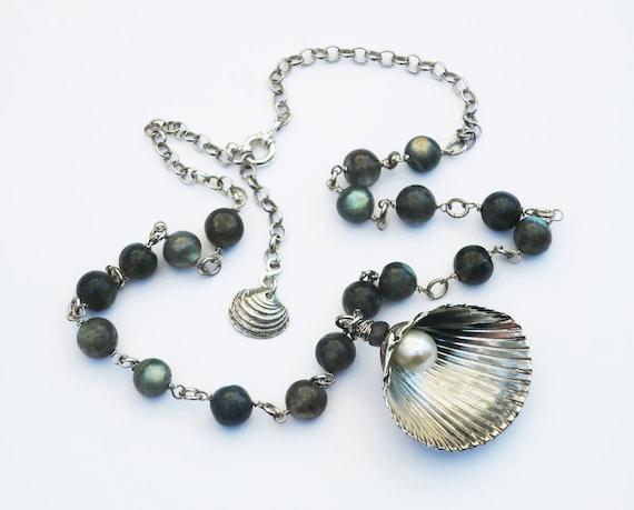 Sterling Silver, Pearl & Labradorite Sea Queen Necklace