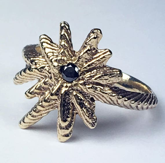 Yellow Gold and Black Diamond Starburst Ring