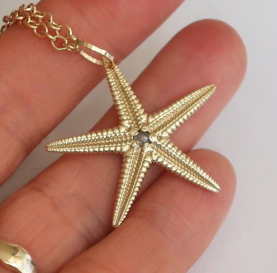 Large Solid Gold and Diamond Starfish Necklace-Ready to Ship
