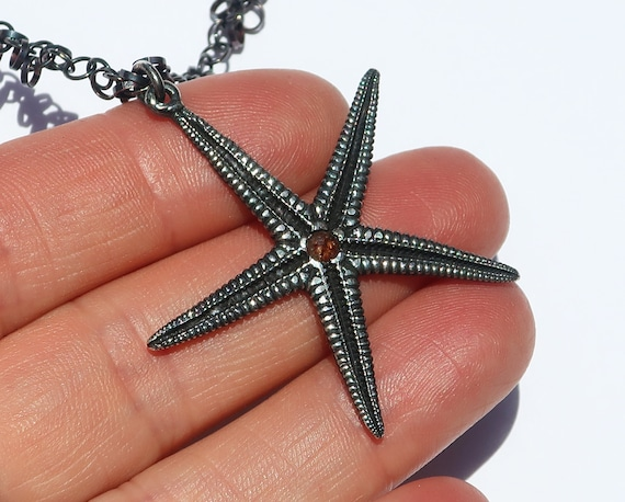 Large Blackened Sterling Silver Starfish Charm with Red Rose Cut Diamond Center on oxidized sterling silver ringlet chain-READY TO SHIP