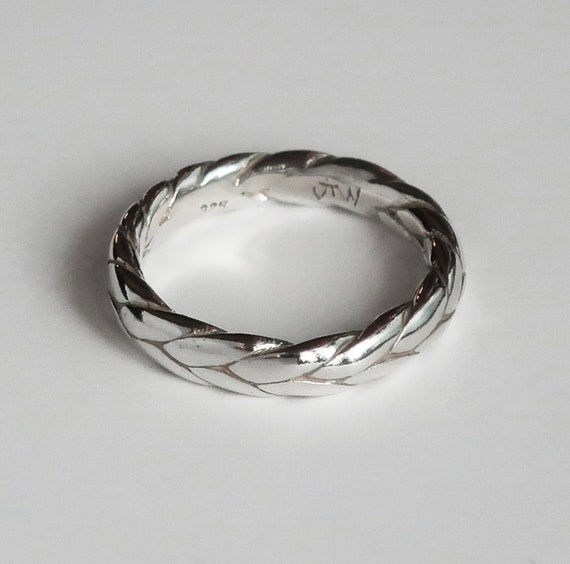 Sterling Silver Braid Ring-Sample, 3.5mm wide/2.2mm deep US size 5.25-Ready to Ship