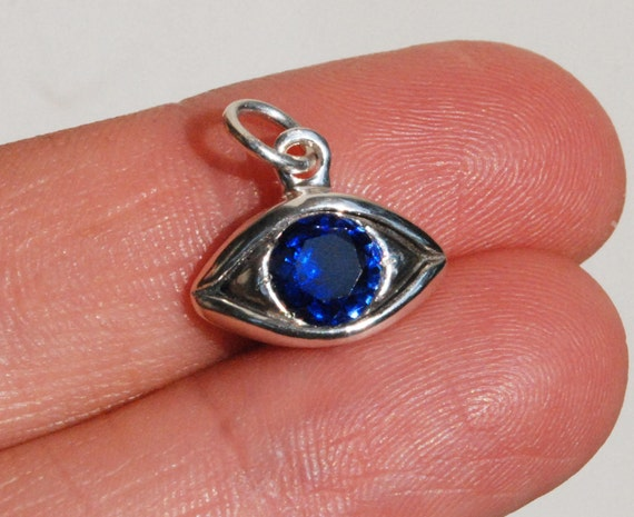 Large Sterling Silver Blue Sapphire Eye Charm-September Birthday