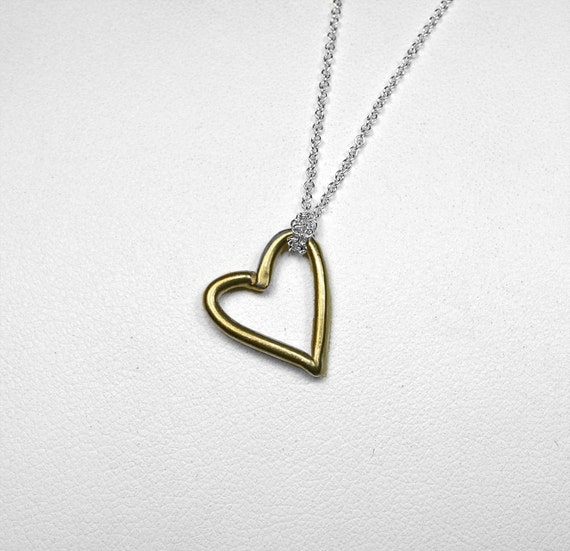 Gold & Silver Open Heart Necklace