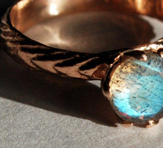 Custom-Solid Rose Gold and Labradorite Cuttlefish Cast Claw Ring for Elyse-Payment 1 of 3