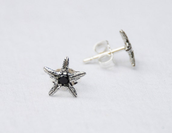 Sterling Silver & Black Diamond Tiny Starfish Earrings