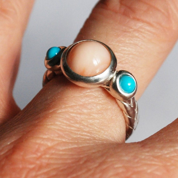 Coral and Turquoise Sterling Silver Braid Ring_Ready to Ship