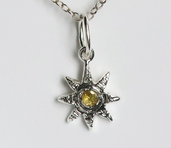 Sterling Silver and Yellow Rose Cut Diamond Celestial Charm Necklace-Ready to Ship