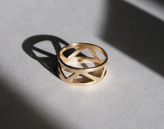 Solid Gold Triangle Ring-Ready to ship.