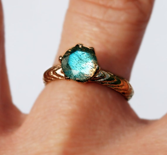Solid Rose Gold and Labradorite Cuttlefish Cast Claw Ring-Ready to Ship