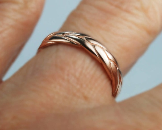 10k Rose Gold Wide Braid Ring with Low Profile-size 5. Ready to ship.