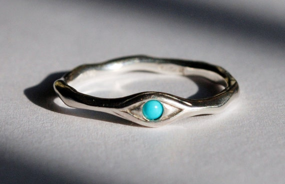 Silver and Persian Turquoise Eye Ring-US size 6.25-Ready to Ship