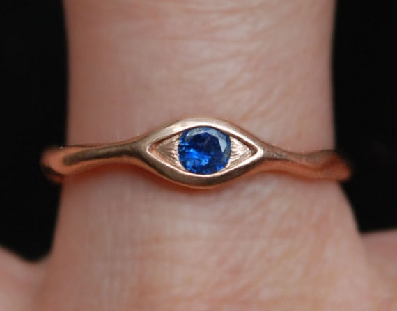 Rose Gold and Natural Blue Sapphire Eye Ring, Size 7 Ready to Ship.