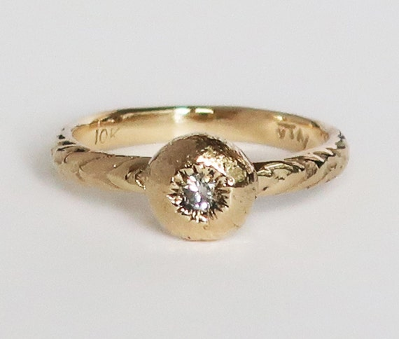 10k Gold and White Diamond Tiny Cushion Sea Urchin Ring, size 5-Ready to Ship