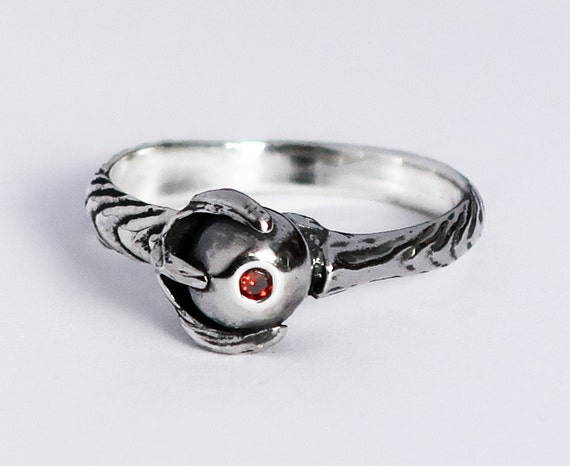 Sterling Silver and Red Cognac Diamond Claw Ring
