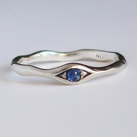 Sterling Silver and Genuine Blue Sapphire Eye Ring