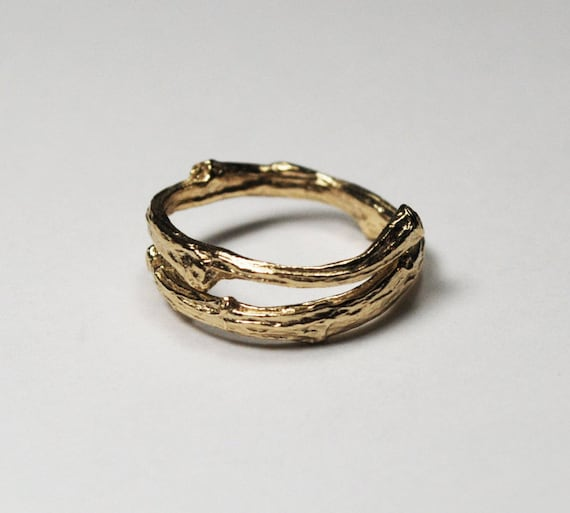 Tompkins Square Park Gold Twig Ring -open wrap