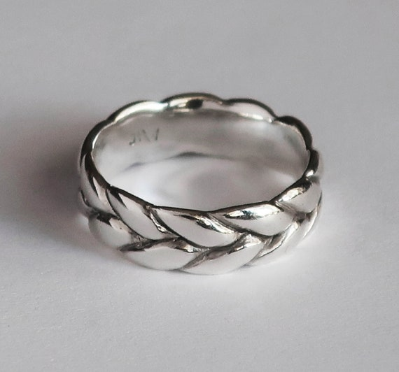 Wide Silver Braid Ring, Low profile, US Size 5, Ready to Ship