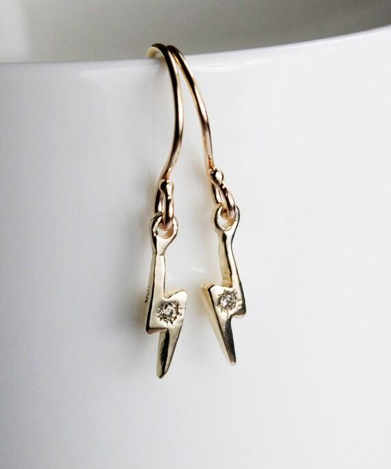 Gold & Champagne Diamond Lightning Bolt Dangle Earrings-READY TO SHIP