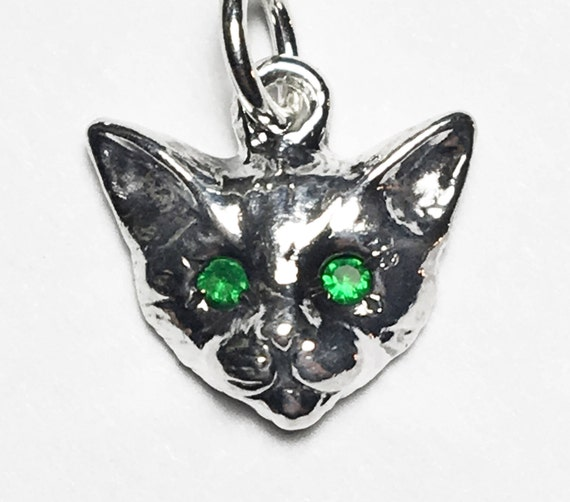 Sterling Silver Kitty Cat Charm with Emerald Eyes