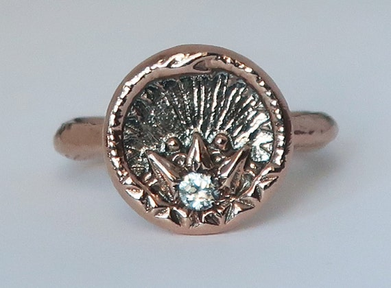 Rose Gold and White Sapphire Ouroboros Snake, Antique Parisian Button Ring size 6-Ready to Ship
