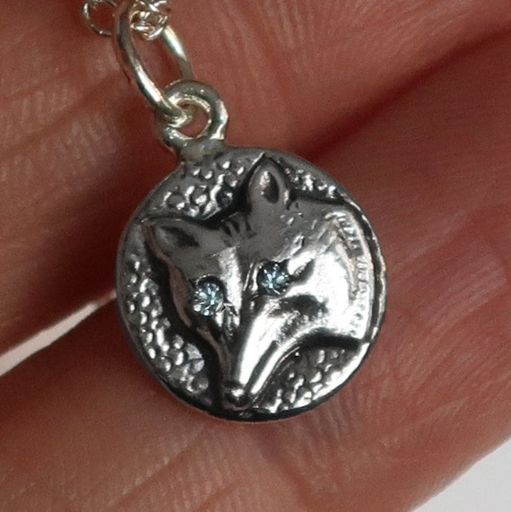Sterling Silver Jeweled Wolf Charm Necklace-pale grey blue eyes-Ready to Ship