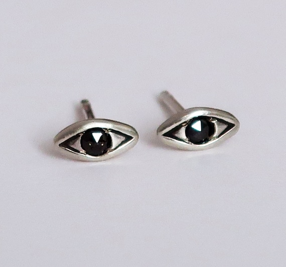 Sterling Silver with Black Diamond Evil Eye Stud Earrings