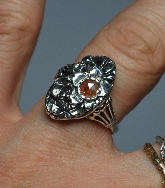 Flowers-Sterling Silver and Red Diamond Ring_ready to ship-Size 5