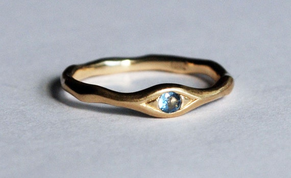 10k Yellow Gold and Genuine Swiss Blue Topaz Eye Ring