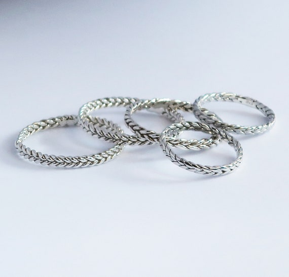 Sterling Silver Thin Braid Rings-Samples-Ready to Ship-US sizes 4.5, 5, 9, 10.5, or 11