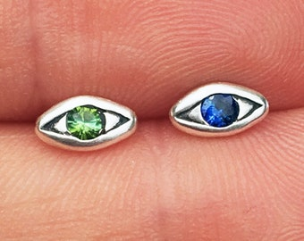 Sterling Silver with Green Tourmaline & Blue Sapphire, Mismatched Evil Eye Stud Earrings_Ready to Ship