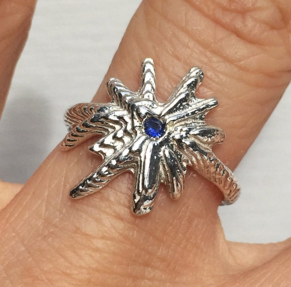 Sterling Silver & Blue Sapphire Starburst Ring